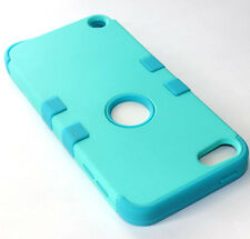 for iPod Touch 5th / 6th Gen -TURQUOISE TEAL BLUE Hard & Soft Rubber Hybrid Case