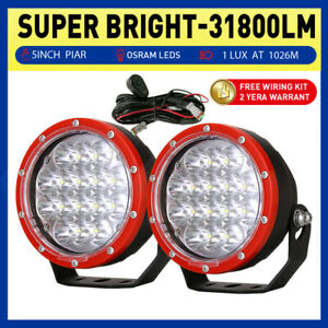 OSRAM 5 inch Pair LED Driving Lights Spot Round Work Offroad SUV Truck 4x4 RED
