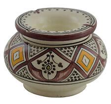 Moroccan XLarge Cigar Ceramic Ashtray Handmade Colorful Outside Smokeless Patio