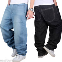 Men's Jeans Baggy Hip Hop Denim Pants Rap Streetwear Casual Loose Fit Trousers