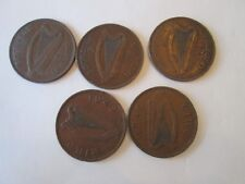 SET 5 LARGE PENNY! Vintage IRELAND coins: dated 1935, 37, 42 & 46 copper   IS196