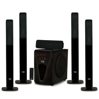 """Acoustic Audio Bluetooth Tower 5.1 Home Speaker System with 8"""" Powered Subwoofer"""