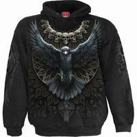 SPIRAL DIRECT RAVEN SKULL Hoodie/Tattoo/Gothic/Skulls/Raven/Rock/Top/Hood/Tribal