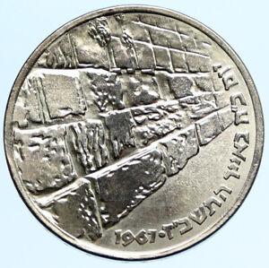 1967 ISRAEL IDF 6 Day War Wailing Wall OLD Jerusalem Silver 10 Lirot Coin i97309