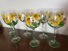 Hand Painted Sunflower Wine Glasses / Goblets Set Of 6 Premium Quality Glassware