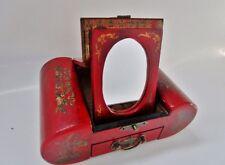 vieille boite à bijoux chinoise laquée rouge-tiroir-miroir-motifs traditionnels
