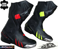 MENS RED / HiViz & BLACK MOTORBIKE MOTORCYCLE CE RACING BOOTS LONG SPORTS SHOES