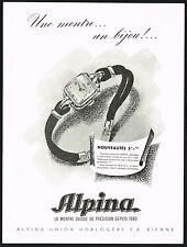 1940's Vintage 1947 Alpina Ladies Swiss Watch Mid Century Modern Art Print AD