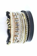 D29 Bangle Stackable Bracelet Black Silver Gold Rhinestones Pearl 10 Pieces