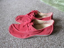 Clarks Active Air Women Red Leather Lace up Flat Shoes Size 4D
