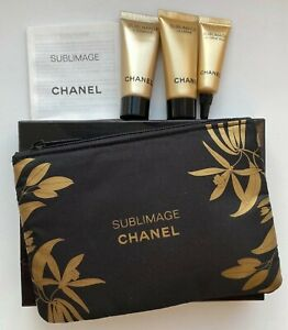 CHANEL COSMETIC/MAKEUP BAG black + SAMPLE SET 3X sublimage RARE VIP GIFT