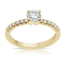 Solitaire Natural Diamond Ring TCW 0.75 14k Yellow Gold Birthday Christmas Gift