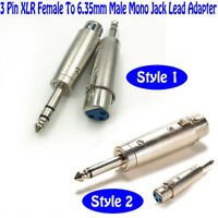 3-Pin XLR Female to1/4 6.35mm Stereo MalePlug TRS Audio Cable Cord Mic Adapte qa