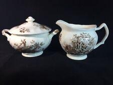 Vintage Johnson Bros England Porcelain Cream & Sugar Set Pastorale Toile De Jouy
