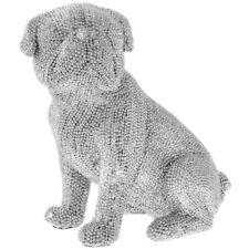 Silver Diamante Bling Sitting Pug Dog Sparkle Figurine Ornament Statue decor