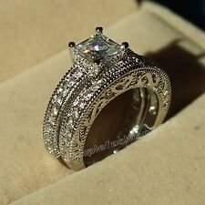 Vintage Princess Cut Topaz Diamonique White Gold Filled Wedding Ring Set Sz 6/L