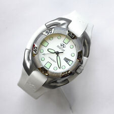 NEW $225 REACTOR 40MM WHITE DIAL SS 200M CURVEX RUBBER STRAP DIVE WATCH #71805