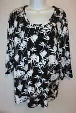 *CORAL BAY*Black/Ivory Ferns Scoop Neck Top*Plus Size 1X*3/4 Sleeve*EUC*Pretty