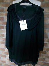 Per Una Speziale Black 3/4 Sleeve Top, Made in Italy, Size 18, M&S, BNWT