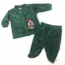 Rudolph 0-3 Months Green Velour Baby Outfit Christmas Pants Top Two Piece