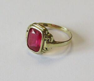 Goldring 333er Gold mit rotem Stein Damen Ring Schmuck