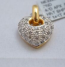"3735-14KT TWO TONE GOLD DIAMOND ""HEART"" PENDANT 0.59CTS  4.62GRAMS"