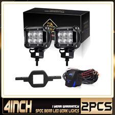 2Pcs 4Inch 18W Led Cube Work Lights Brackets Wiring Fits Jeep Truck Polaris