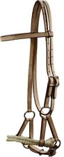New Light Oil Leather Side Pull Sidepull  Rope Nose Headstall Bitless Bridle