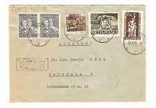 Polen Briefmarken Brief von 1951 Groszy Aufdruck Mi 562, 612, 659, 660