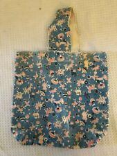 """Vinatge Corduroy Tote Bag Purse Toys Light Blue Elephant Unique print 13"""" X12 """""""