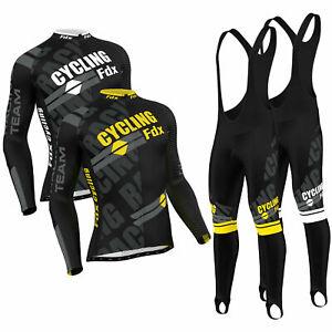 FDX Mens Pro Cycling Jersey Cold Wear Thermal Bike jacket + Racing Bib Tight Set