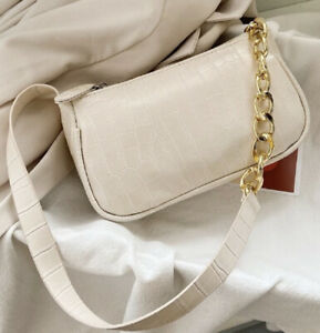 Beige Cream Gold Chain Y2K Croc Baguette Bag Mini Purse Designer Bags