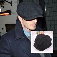 Retro Black cabbie Newsboy gatsby Cap Mens Hat Golf Driving Flat Plain Hat