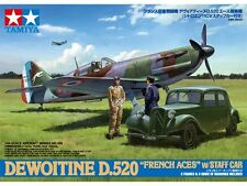 "DEWOITINE D.520 ""FRENCH ACES"" w/STAFF CAR TAMIYA 1/48 PLASTIC KIT"