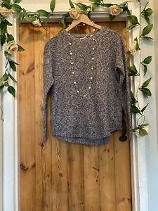 FAT FACE  PRETTY MIDNIGHT BLUE POINTELLE   KNIT JUMPER TOP SIZE 12