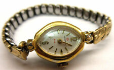 LADIES VINTAGE HELBROS YELLOW GOLD TONE WRIST WATCH -NOT WORKING - PARTS **
