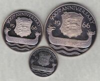 THREE BATTLE OF HASTINGS 900TH ANNIVERSARY SILVER MEDALS IN NEAR MINT CONDITION.
