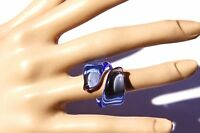 Blue Cocktail Italy style  ring. Free USA shipping.