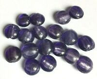 Purple Coloured Silver Foil Lampwork Glass Puffy Coin Shaped Beads Size 12mm