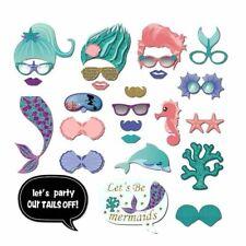 26x Mermaid  Photo Booth Props Kid Birthday Paper Party Selfie Accessories Tool