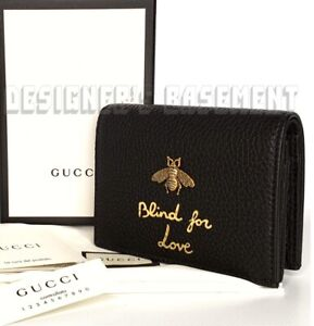 GUCCI Animalier Black leather Gold BEE BLIND FOR LOVE Mini wallet NIB Auth $650!