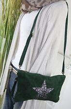 ITALY WILDLEDER IT BAG Sterne Tasche Leder CLUTCH Umhängetasche TANNENGRÜN H/M-7