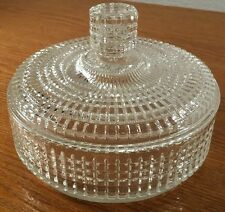 Antique Glass Block/Square Design Clear Candy/Nut Dish W/Lid