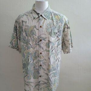 Tommy Bahama Men XL Black Floral Washed Silk Short Sleeve Hawaiian Shirt