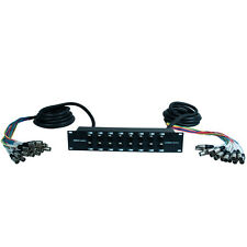 16 Channel XLR TRS Combo Splitter Snake Cable Two 15' XLR trunks - Rack Mounts