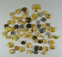 Mixed LOT of Vtg ALL-Metal Buttons Military Navy Eagles Anchors Steampunk