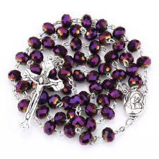 Deep Purple Crystal Beads Rosary Catholic Necklace Holy Soil Medal Metal Cross
