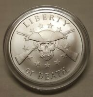 2018 Silver Shield 1oz Liberty or Death Skull & Gun .999 Fine Silver Round Coin