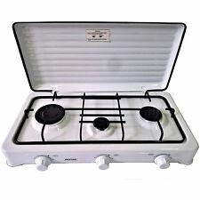 Cocina de Gas Portátil para camping 3 quemadores Blanca SMILE KN-03/1KB