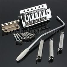 For Fender Strat 1 Set 6 Strings Chrome Guitar Tremolo Bridge With Bar Parts